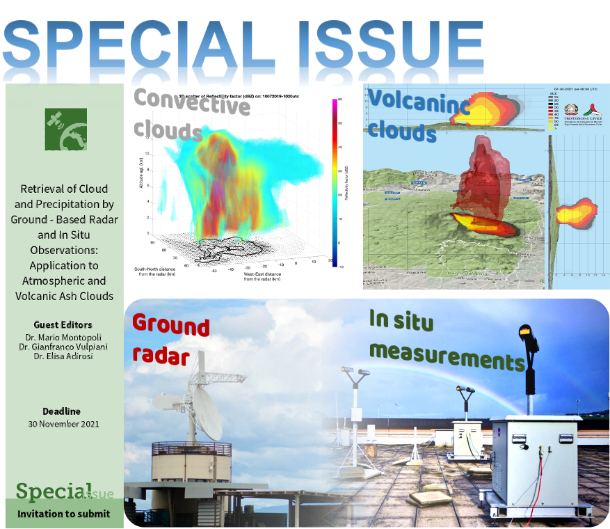 MDPI RS  Special Issue on Retrieval of Cloud and Precipitation by Ground-Based Radar and In Situ Observations: Application to Atmospheric and Volcanic Ash Clouds
